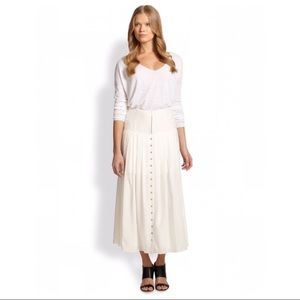 Theory Freyza Swah Ivory Silk Button Midi Skirt, 4